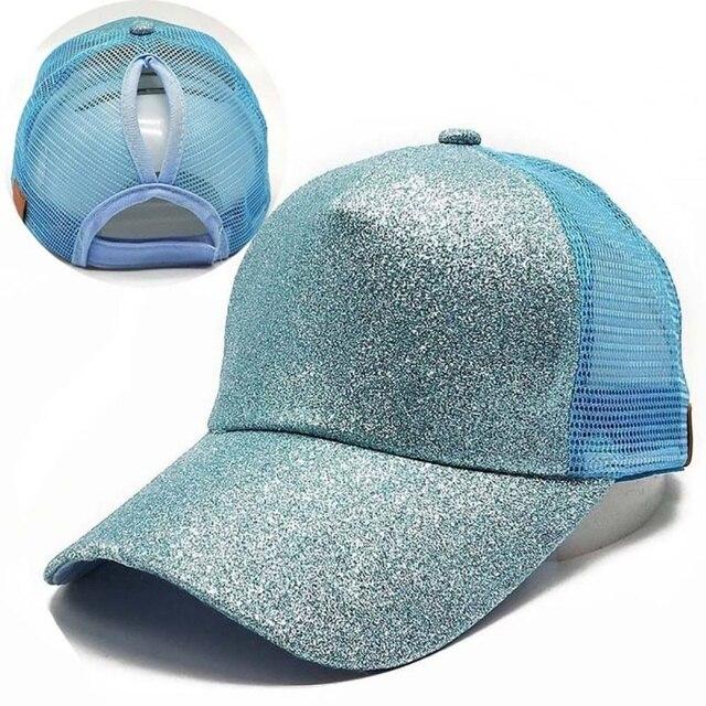 New Glitter Ponytail Baseball Cap Sequins Shiny Messy Bun Snapback Hat Sun Caps For Running Hiking 2