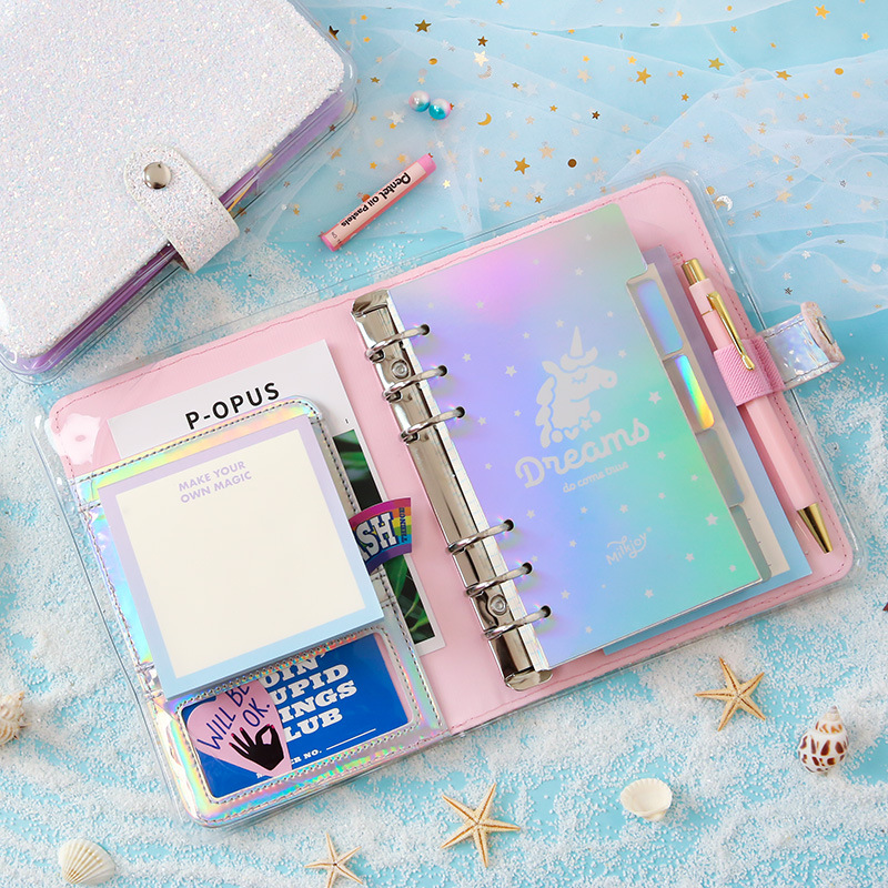 Kawaii DIY Agenda Planner Organizer A6 Diary Diamond Notebook Bullet Journal Spiral Binder Korean Ring Handbook Travel Note Book