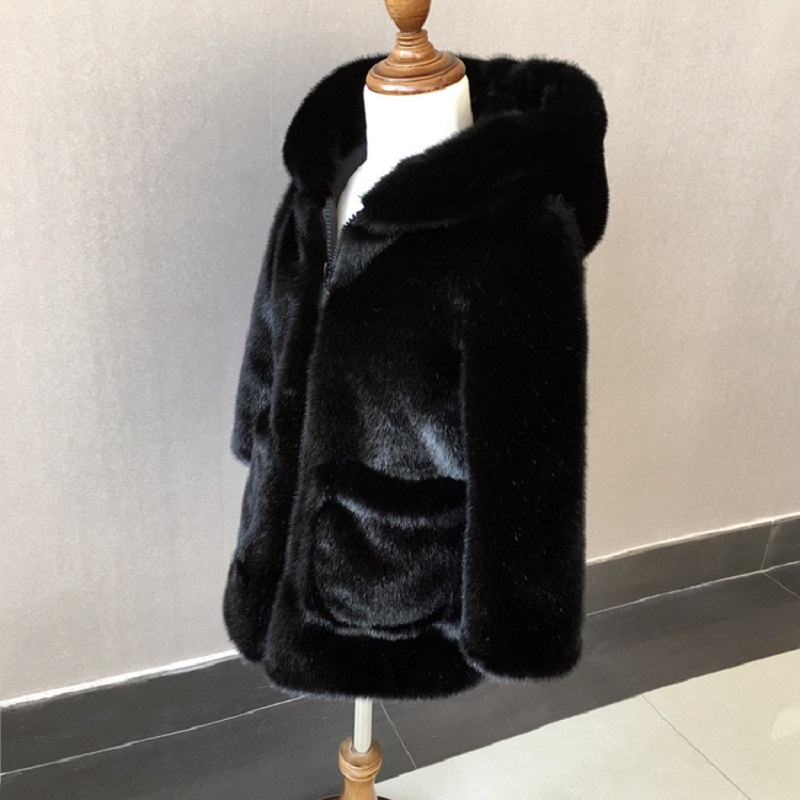 JKP 2018 new autumn and winter boys and girls imitation fur coat jacket baby coat long coat hat FPC-46
