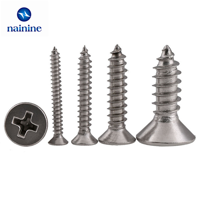 50Pcs DIN7982 GB846 ISO7050 ST2.2 304 Stainless Steel Cross Recessed Flat Head Screws Phillips Self-tapping Wood Screws HW004 niko 50pcs chrome single coil pickup screws