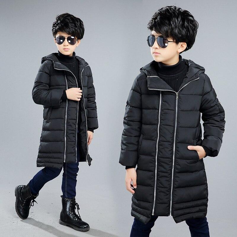 Kış Boys Pamuk Yastıklı Mont Thickeing Sıcak Çocuklar Için Kapüşonlu Ceketler Parka Marka Yamalar Genç Çocuk Kabanlar L-36