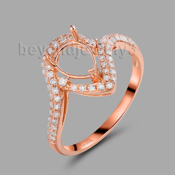Womens Wedding Rings Pear 5x7mm 18Kt Rose Gold Diamond Semi Mount Ring WU258Womens Wedding Rings Pear 5x7mm 18Kt Rose Gold Diamond Semi Mount Ring WU258