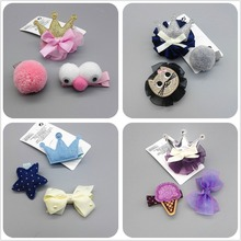 3/lot amazing cartoon kitten crown hair clip children tiara hairpins baby girl pompom ball safe barrettes Hair ornament gift MT2