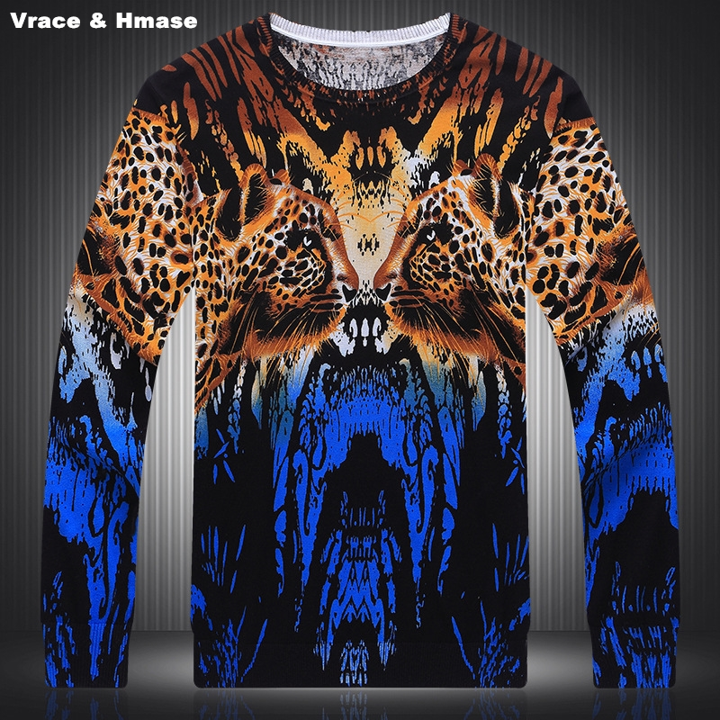 Personality Cheetah Head Pattern Colorful Printing Knitted Sweater Autumn&Winter 2017 Soft And Silky Quality Sweater Men M-XXXL