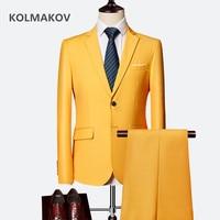 Two Pieces Jacket+Pants 2019 Men's Suits Wedding Dress for Groom Slim Fit Suit Fashion Set Designer high quality Suit for Men