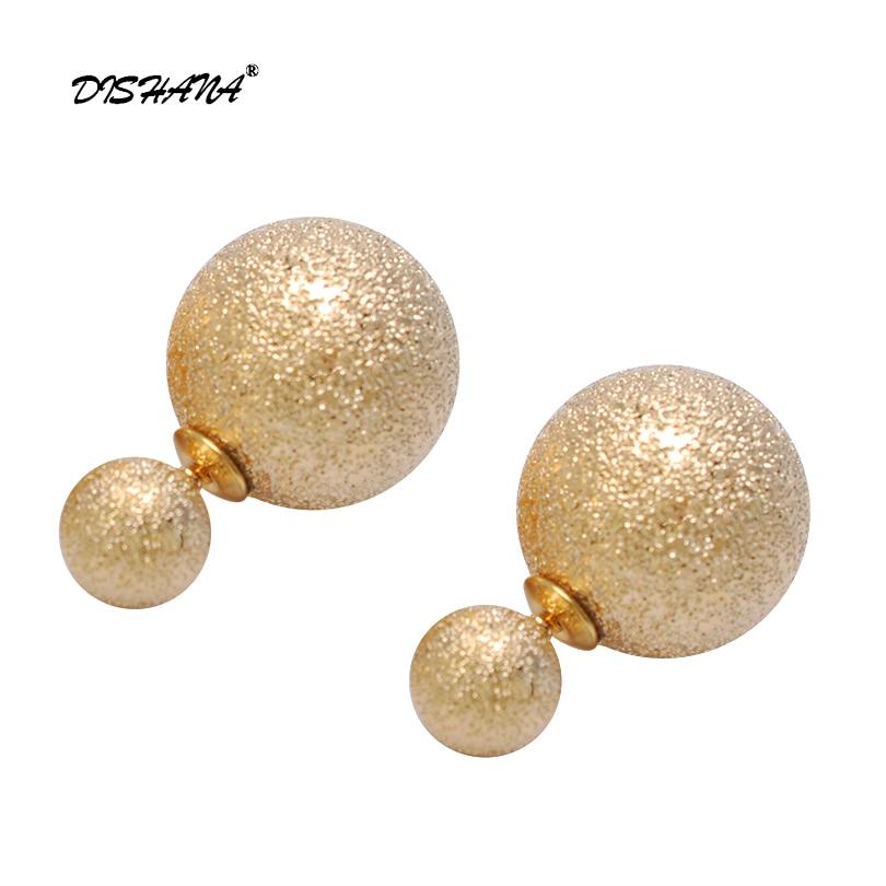 Double Side Earrings Fashion Jewellery large small ball Bead Stud Earring 2018