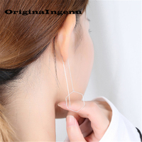 Geometric Polygons Long Style Earrings Minimalist Simple Silver Presents For Girlfriend Wedding Gift