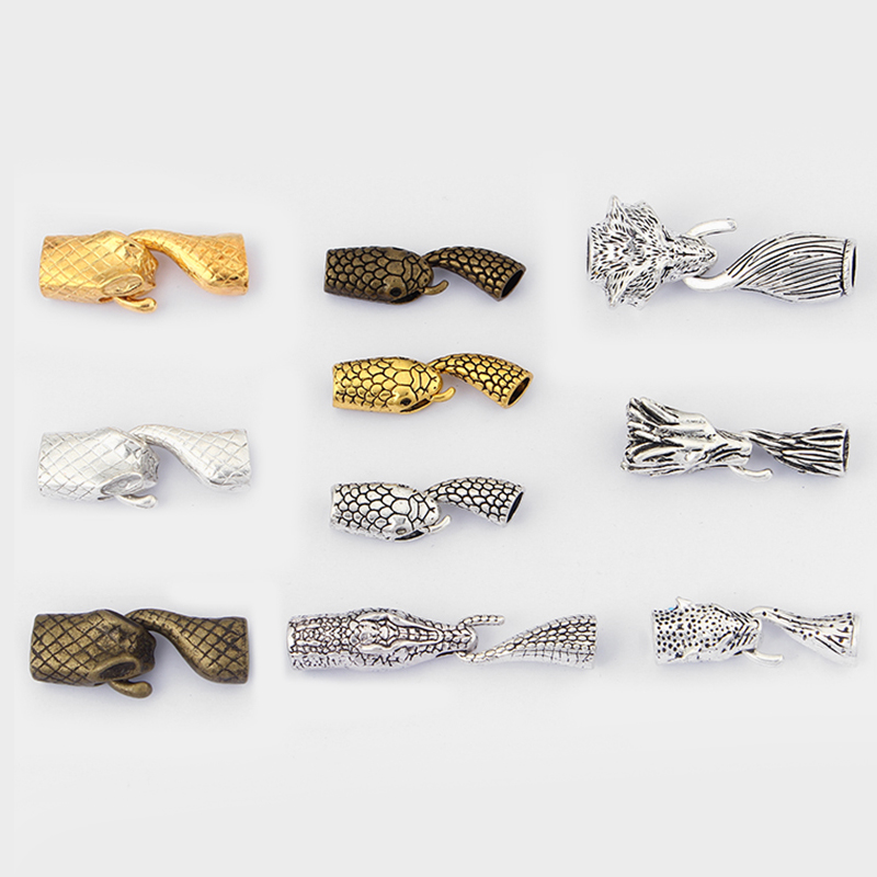 2sets Fashion Hook Clasp Wolf Snake Crocodile Head And Tail Hook Clasp For 12*6mm 6/8mm Leather Cord Bracelet Necklace Making