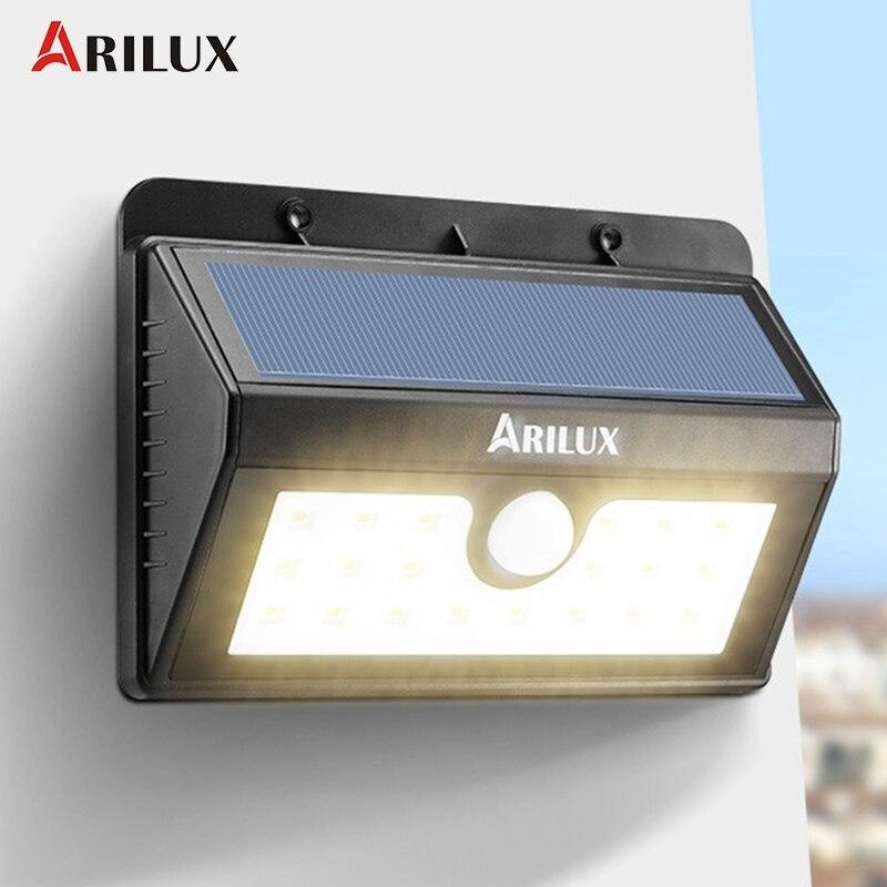 ARILUX AL-SL05 20 LED Solar Light Outdoor Lighting  Solar Powered Waterproof PIR Motion Sensor LED Garden Light Wall Lamp