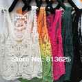Hot Fashion ! Beige Black Green Embroidery Floral Lace Crochet Blouse  Top Shirt Sleeves Vest
