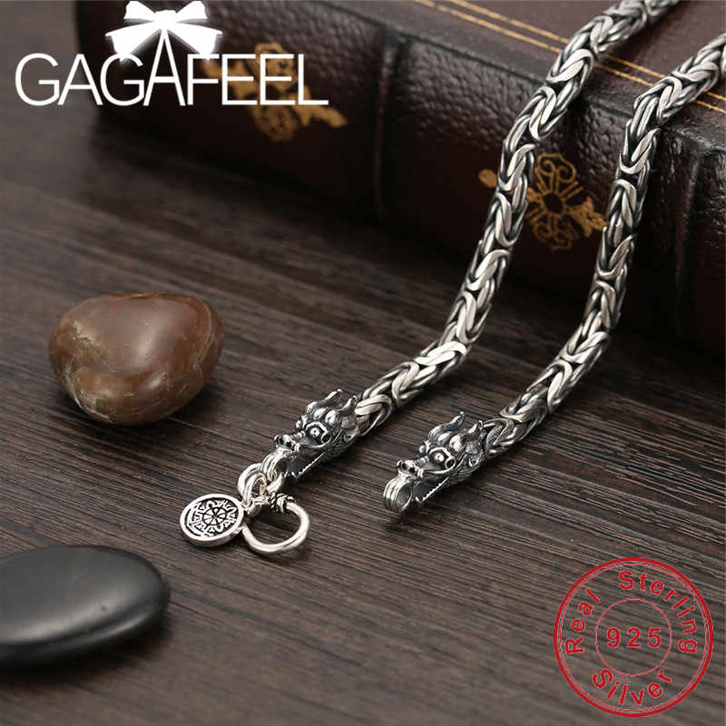 b067bec5b6afa8 GAGAFEEL Vintage 925 Sterling Silver Chain Man Necklace Dragon Head Thai Silver  Necklace for Men Jewelry