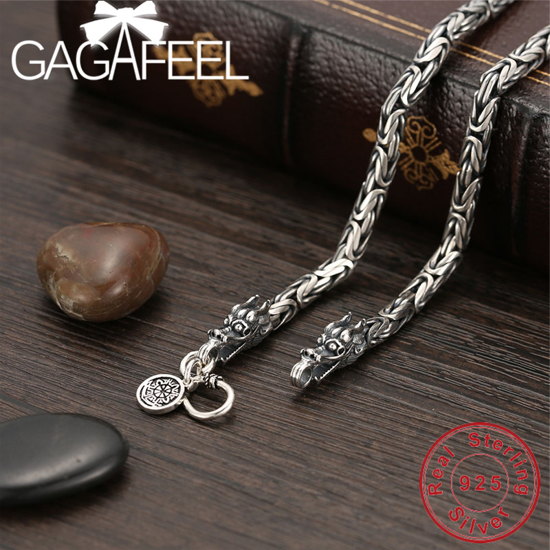 GAGAFEEL Vintage 925 Sterling chaîne en argent Homme Collier tête de dragon Thai collier en argent pour bijoux pour hommes Punk Style qualité supérieure