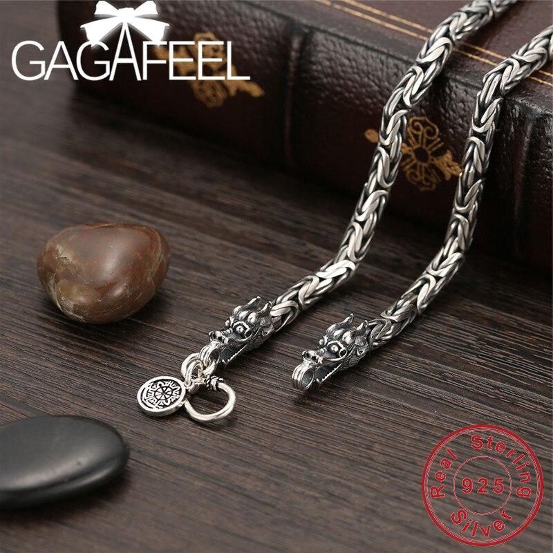 GAGAFEEL Vintage 925 chaîne en argent Sterling pour homme collier tête de Dragon Thai argent collier pour hommes bijoux Style Punk de haute qualité