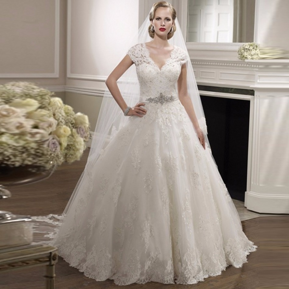2017 alice girl ball gown short sleeve beaded lace v neck bridal dresses new designer wedding