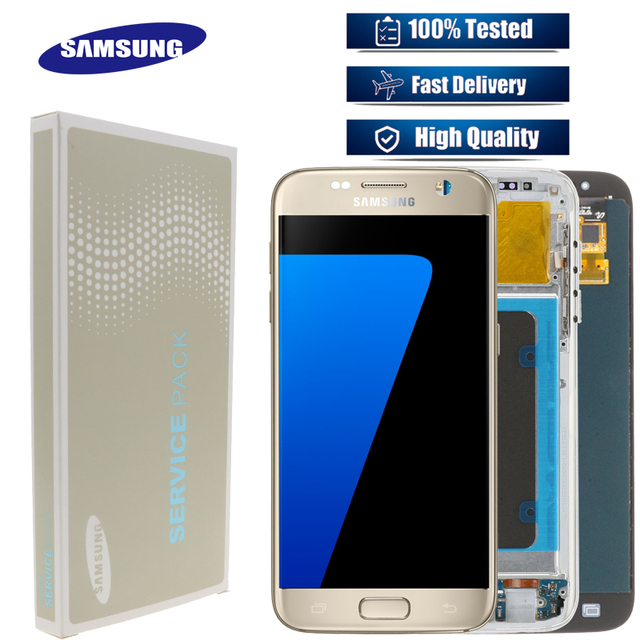 5.1 SUPER AMOLED  Burn shadow LCD For Samsung Galaxy S7  Display With Frame G930 G930F LCD Screen Digitizer Assembly