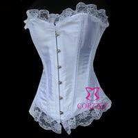 Las mujeres atractivas Ropa interior satén sin tirantes vasco corpete corselet Cuerpo elevación Encaje deshuesado del corsé nupcial de la boda corsage blanco