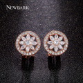 NEWBARK Flower Earrings For Women Round Stud Earring Charm Wheel CZ  Simulated Diamond Cute Fashion Jewelry Brinco Christmas