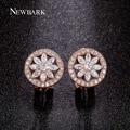 NEWBARK Flower Earrings For Women Round Stud Earring Charm Wheel CZ  Simulated Diamond Cute Fashion Jewelry Brinco Christmas