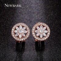 NEWBARK Beautiful Flower Stud Earrings Best Craft CZ Diamond Earring Two Tone Fashion Women Jewelry