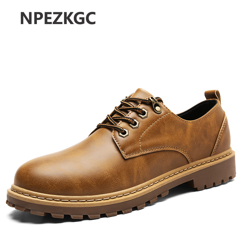 NPEZKGC New Hot Sale Casual Shoes Men Spring Autumn Waterproof Solid Lace-up Man Fashion Flat With Pu Leather Shoe Oxfords 2017 spring brand new fashion pu stretch fabric men casual shoes high quality men casual shoes lace up casual shoes men 1709