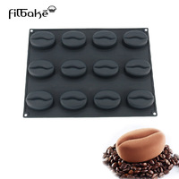 12 Cavity Coffee Bean Shape Silicone Cake Pastry Mold Kitchen Baking Pastry Tools Non Stick 100ML