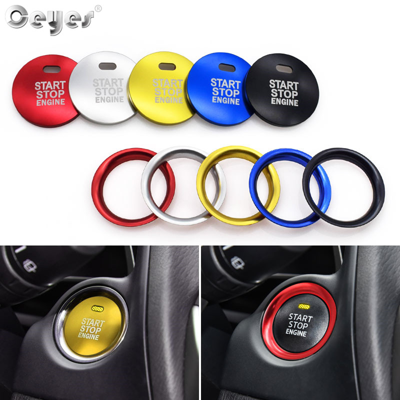 Ceyes Car Styling Auto Engine Start Stop Ring Keyless Case For Mazda Axela CX-4 CX-5 Atenza Car Button Decoration Interior Cover всё для лепки play doh туалетный столик рарити