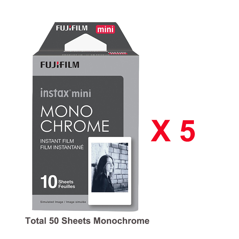 Fujifilm Fuji Instax Mini 9 Film Monochrome 50pcs For Mini 8 9 7s 7 50 90 25 Instant Photo Camera Share SP-1 SP-2 SP-3 Printer new 5 colors fujifilm instax mini 9 instant camera 100 photos fuji instant mini 8 film
