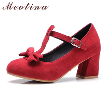 Meotina Pumps Women Mary Jane Shoes Lolita High Heels Bow T-Strap Shoes Ladies Party Pumps Thick Heels Red Large Size 11 45 46
