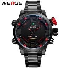 Hot WEIDE Relojes hombres Casual Reloj Led multifunción Relojes de Los Hombres de Doble Huso Horario Con Alarma Buceador Deportivo Relojes de pulsera de cuarzo
