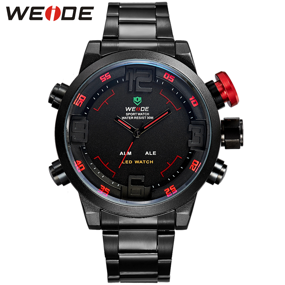 WEIDE Calendar Analog Digital LED Dual Time Display Stainless Steel Band Black Date Day Alarm Military Sport Quartz Wristwatch weide men running sports quartz watch black strap dual date day back light analog digital alarm clock military watches