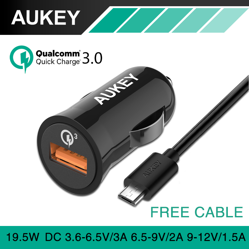 AUKEY Quick Charge 3.0 USB Car Charger Mini Auto QC2.0-Compatible Car-Charger For iPhone 8 Plus Samgsung S8 Mobile Phone Charger