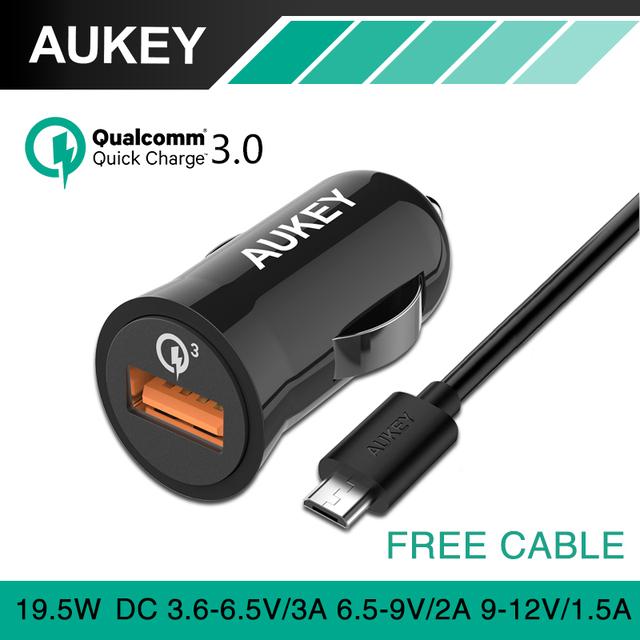 Aukey qc2.0 quick charge 3.0 mini auto usb carregador de carro-carro-carregador compatível para iphone 7 plus samgsung galaxy s6 edge carregador