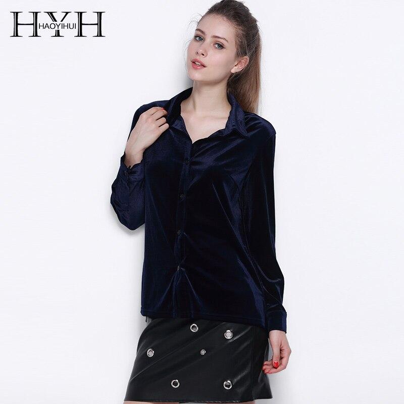 HYH HAOYIHUI Women Long Sleeve Shirt Dark Blue Velvet Office Elegant Blouses Casual Shirts Ladies Blusas