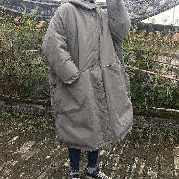 Longue Mode Femmes Noir Coréenne Marée Grande Lâche Manche Taille Veste Shengpalae Dames Ff556 Black Automne Décontracté gray À Hiver Capuche Manteau Op4qxqw1P