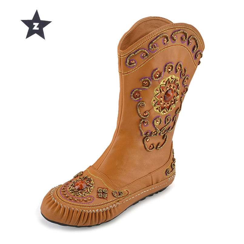 Z Mid-Calf Boots Women Leather Boots Female Zipper Boho Beaded Flat Embroidered Flower Ethnic Retro Women BootsZ Mid-Calf Boots Women Leather Boots Female Zipper Boho Beaded Flat Embroidered Flower Ethnic Retro Women Boots
