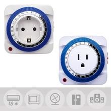 24 Hour Timer Socket Mechanical Program Timer Switch Socket Wall Outlet ProtectorEnergy Saveing 125V EU/US Plug