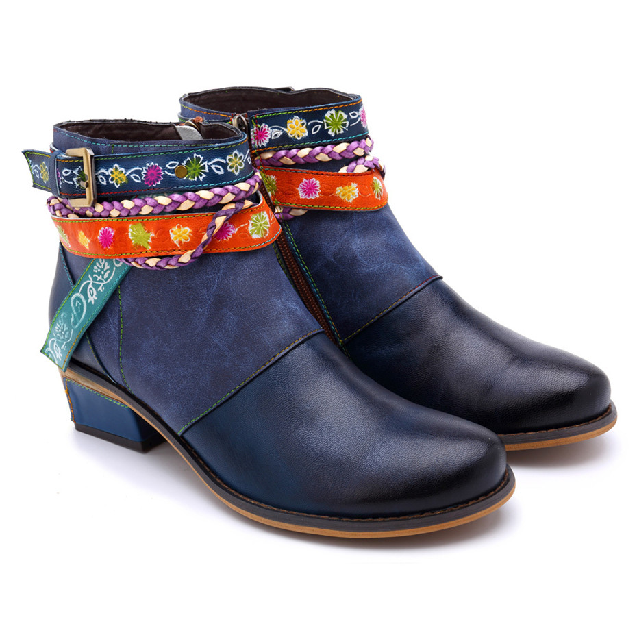 Vintage Bohemian Women Ankle Boots Shoes Side Zip Med Heels Ladies Shoes  Booties Genuine Leather Short Boots Shoe Woman (9)