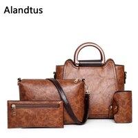 Alandtus Set 4 Pcs PU Leather Women Bags Vintage Female Handbags Casual Lady Shoulder Bag Clutch Bags For Women Card Holder