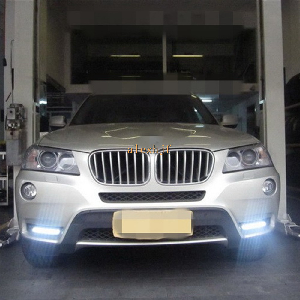 July King LED Daytime Running lights DRL LED Front Bumper Fog Lamp Case for BMW X3 F25 2011~2012, 1:1 Replacement, Free Shipping brand new set led drl daytime running daylights for bmw f25 x3 2010 2014 front driving bumper fog lights dimmable drl lamp
