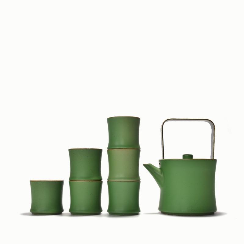 Ev ve Bahçe'ten Çay Takımı Setleri'de PINNY Bambu Şekli çay seti Yeşil Sır Seramik Kung Fu çay seti 1 Pot 6 Bardak Paslanmaz Çelik kahve Filtresi Demlik Seramik Su Isıtıcısı'da  Grup 1