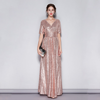 Sequins Long V Neck Evening Dresses Robe Soiree Sexy 2019 New Style A Line Short Sleeve Formal Party Dresses Vestido De Noche