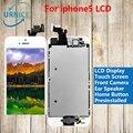 100% probado blanco/negro color para iphone5 para iphone 5s para iphone5c lcd display de pantalla táctil digitalizador + botón de inicio + cámara frontal