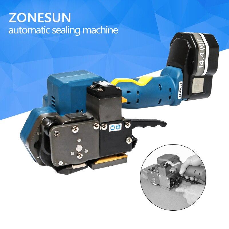 ZONESUN Z323 portátil flejadora eléctrico con pilas PET/fricción de soldadura de plástico herramientas de mano para 16-19MMPET y PP Correa