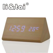 Li&Tai Bamboo Wooden LED Alarm Clock Temperature Sounds Control Calendar Display Electronic Digital Table
