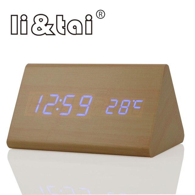 929af7749d5 Li   Tai Bambu Soa Controle de Temperatura Calendário De Madeira LED Alarm  Clock Display LED
