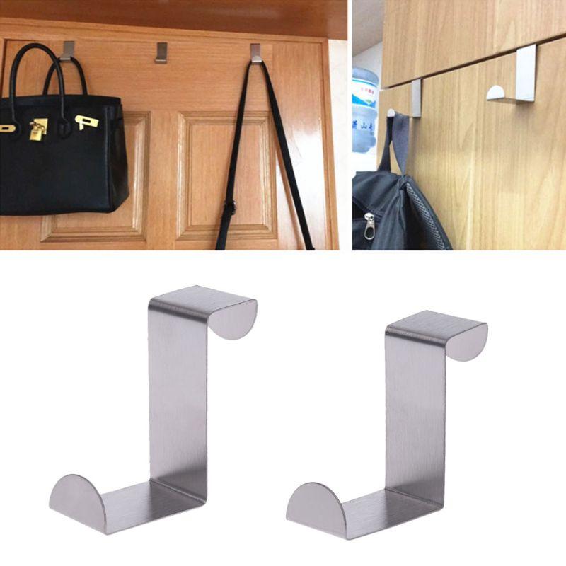 Silver Stainless Steel Over Door Hook Kitchen Cupboard Drawer Cabinet Clothes Holder Organizer Door Hooks Hot SALE DROP SHIP