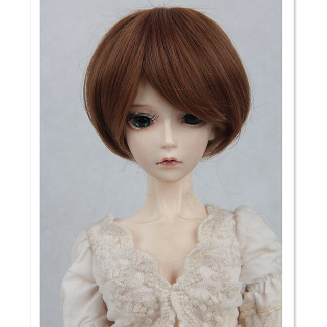 1/3 1/4 1/6 BJD Doll Wig Short Hair, Brown Gold Color Fashion Doll Hair Accessories for Dolls