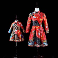 Mother Girl Mom and Daughter Dresses Fan Print Red Mother Daughter Wedding Dresses Autumn Winter Clothes for Family Clothing