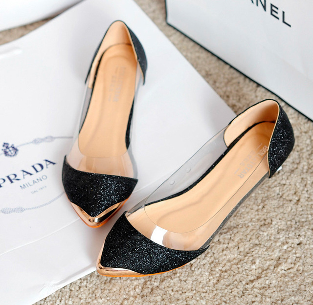 3de43135353fb2 Free shipping Europe station 2015 metallic pointed shoes New women s flat  shoes Gold Silver Black Color