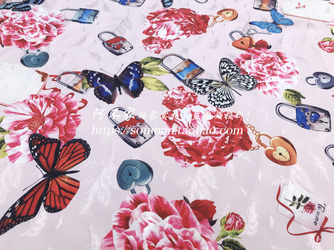 Romantic Theme Fresh Witty Collection with Padlock and Butterfly White Soft Jacquard Fabric for Woman Summer Dress DIY-AF388